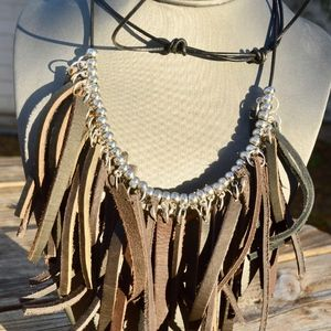 Real Genuine Leather Fringe Earrings Necklace Set